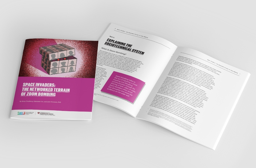 Zoom bombing whitepaper cover and interior spread
